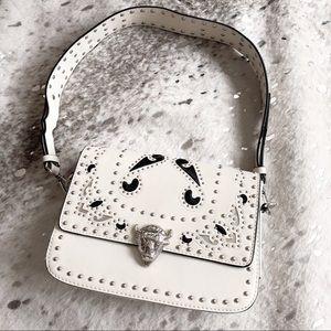 Zara studded white bison shoulder bag